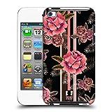 Head Case Designs Blumig Schwarz und Pink Ruckseite Hülle für Apple iPod Touch 4G 4th Gen