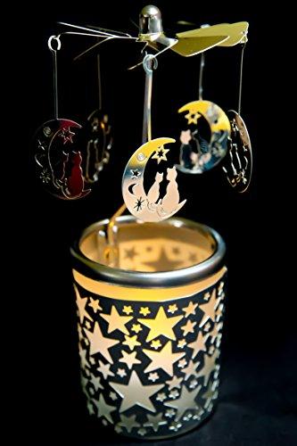 Pyramide/ Rondell silber Teelichtglas im Geschenkkarton SET inkl. Glitzerstern (Mond mit Katze)