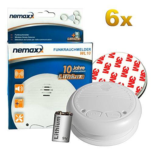 6x Nemaxx WL10 Funkrauchmelder - mit 10 Jahre Lithium Batterie Rauchmelder Feuermelder Set Funk koppelbar vernetzt - nach DIN EN 14604 + 6x Magnethalterung