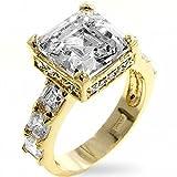 18k vergoldet Ring klare Cubic Zirkonia Asscher-Cut (quadratisch) Krappenfassung silber