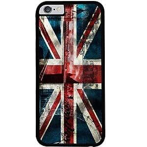 Casotec London Flag wallpaper Design 2D Hard Back Case Cover for Apple iPhone 6 / 6S - Black