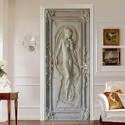 Halle Portrait (LHMBH Tür Aufkleber Selbstklebende Tür Aufkleber Diy Aufkleber 3D Relief Portrait Bild Pvc Poster Leinwand Home Decoration Halle Tür Mural 77X200 Cm)