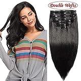 8A Extension a Clip Cheveux Naturel Maxi Volume Noir [Double Wefts][Double Epaisseurs][Curve Design Adapte Tête][BB Clip de Haute Elasticité][Bordure Invisible] - [25cm, 110g - 01#Noir ]