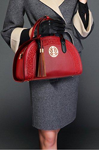 Keshi Pu Nouveau style - Sac à main femmes - Porté MAIN et EPAULE Vin Rouge