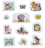 Unbekannt 12 tlg. Set 3-D Soft Sticker / Aufkleber - Der kleine Maulwurf - wasserfest - selbstklebend Pop-Up Aufkleber Wandsticker