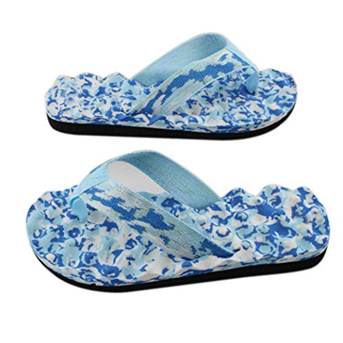 Sandales Femme Fille Perles de Hibou Bohémien Chaussures, QinMM Encounter été Tongs Clip Toe Plates Flip Bleu