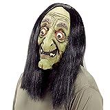 Masque vieil magicienne Baba Yaga sorcière avec perruque avec cheveux conte de fées visage effrayant en caoutchouc soirée accessoire Halloween