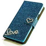 Glitzer Handytasche für Sony Xperia M C1904/C1905 Türkis Schutz Hülle Etui Bag Bling Case NEU