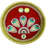 "AsiaCraft Decorative Pooja Thali / Diwali Pooja Thali 10.8 "" With 2 Attached Holders"