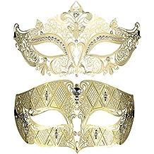 Juego de 2 antifaces estilo veneciano, máscaras con un estilo lujoso, ideales para fiestas