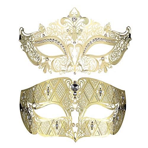 Coddsmz Paar Venezianische Maskerade Maske Set Stil Prinzessin Party Maske (Gold)