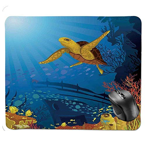 J5E7JYTE Premium-Textured Mouse pad,Colored Coral Reef with Silhouette School of Fish and Turtle Underwater Nature Art Mouse Pad -