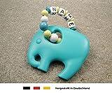 Baby Silikon Greifling Beißring mit Namen | individueller Beißanhänger als Geschenk zur Geburt & Taufe | Mädchen & Jungen Motiv Elefant in türkis