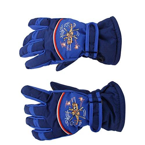 Paar Schneeschuhe Anti Rutsch 6-8 Jahre Kinder Ski Skaten Handschuhe Pink (Dunkelblau) (Handgelenk-handschuh Stricken Palm,)