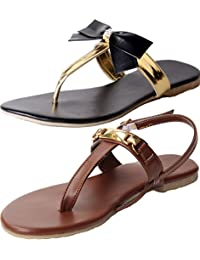 Combo Pack Of Two Sandals |Ladies Sandal |Black Sandal | Black |Women Flats | Ladies Slippers |Girls Slippers...