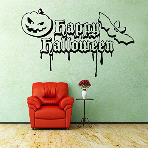 Adesivi da muro intagliato camera da letto creativi adesivi adesivi decorativi rimovibili che vivono halloween zucche pipistrelli 58 * 35 cm