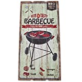 Wandbild Hot Tasty Barbecue Design MDF 60x30cm bunt Kunstdruck Schild Vintage Retro