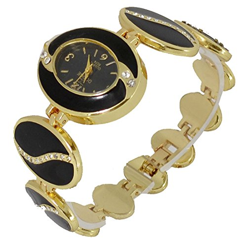ll2-black-enamel-ladies-yellow-gold-tone-diamante-bracelet-wrist-watch