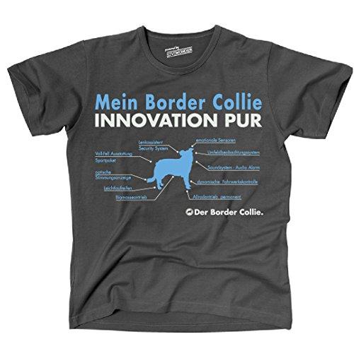 Siviwonder Unisex T-Shirt INNOVATION BORDER COLLIE TEILE LISTE Hunde lustig fun dark grey XL -