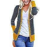 T.Mullen Damen Strickjacke Casual Gestreift Cardigan Outwear Streifen Strickpullover Gelb M