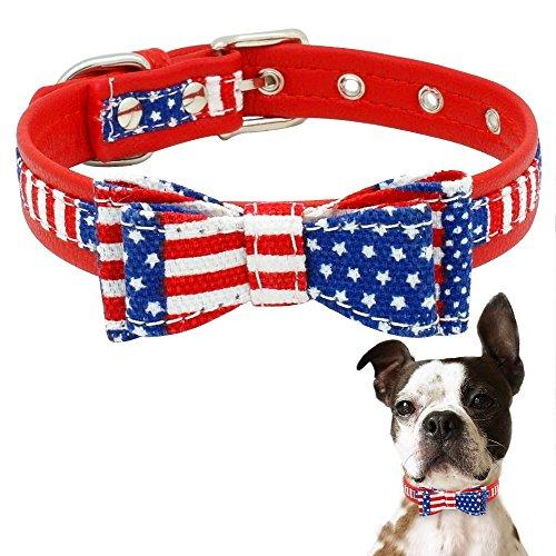 Rost Kostüm Dog - Lager Show American Flagge Hund Katze Halsband mit Schleife Verstellbar Weiches PU Leder Halsband für Kleine bis Große Hunde Katzen, M, USA Flag Collar
