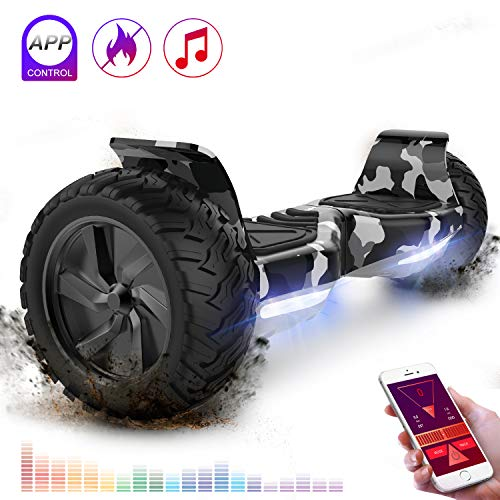 RCB Gyropode Tout Terrain Auto-équilibrant Scooter électrique Gyropode 8.5 '' Hummer Tout-Terrain construit en Bluetooth APP Bluetooth LED avec Moteur Puissant Cadeau pour Noël