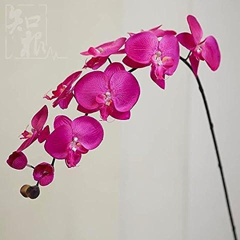 Natale ornamenti Home Arte della decorazione di simulazione artificiale Fiori Flora per feste di matrimonio e di ringraziamento dono simulazione di Butterfly Orchid Fiore artificiale fiore di seta corpetto,rosa rosso