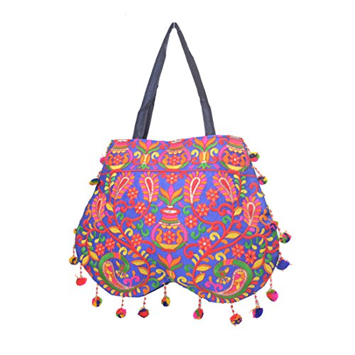 Ruff Indian Traditional Antique Handwork Hand Embroidered Shopping Bag Shoulder Bag Hobo Bag Sling Bag Purse Multicolour Handmade bag/clutch hastkala Ethnic Womeniya Handbag  available at amazon for Rs.399