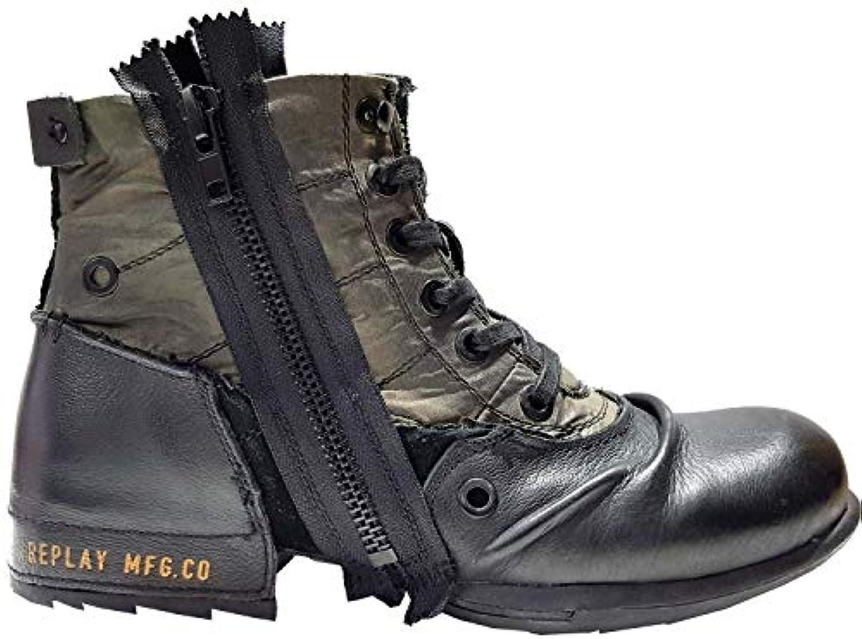 Replay Clutch Nero verde Uomo Side Zip Mid Caviglia Pelle Esercito Stivali | Alla Moda  | Gentiluomo/Signora Scarpa