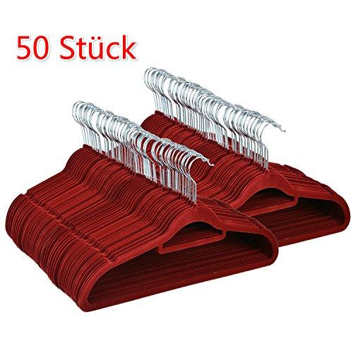Coorun 50 Stück Samt Kleiderbügel mit rutschfeste Oberfläche dünn, 360° drehbarer Haken Weinrot