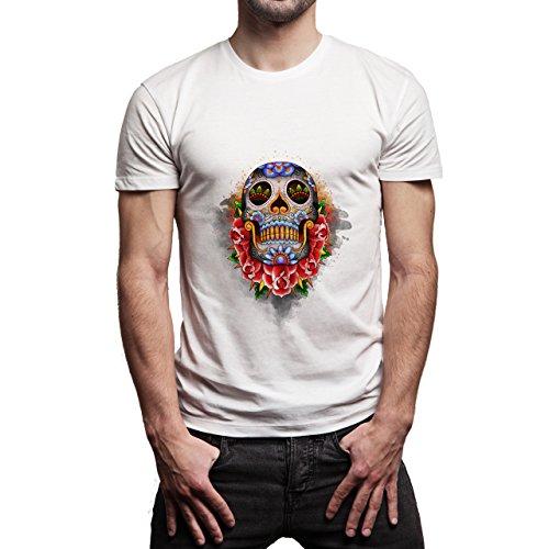 Skull Colour Look Up Herren T-Shirt Weiß