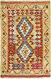 Nain Trading Kelim Afghan 98x66 Orientteppich Teppich Beige/Rosa Handgewebt Afghanistan