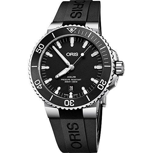 Oris Men's Aquis 43mm Rubber Band Steel Case Automatic Watch 73377304154RS