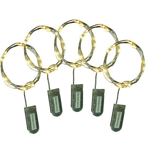 15er LED Lichterkette Micro Draht batteriebetrieben Lithium Knopfbatterie (Warmweiss, 5 Stk)