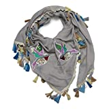 ACC Damen Dreieckstuch mit Quasten und Kolibri Sticker oversize Baumwolle Schal XXL (grau)