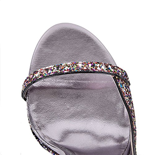 ENMAYER Femmes Glitter Platform Strappy Sangle de la Cheville Ouvert Toe Talons Hauts Party Wedding Dress Sandales Noir