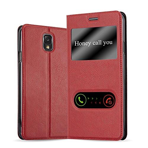 Preisvergleich Produktbild Cadorabo Hülle für Samsung Galaxy Note 3 - Hülle in Safran ROT - Handyhülle im Standfunktion und 2 Fenstern (View Design) - Case Cover Schutzhülle Etui Tasche Book Klapp Style