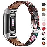 HUMENN Armband für Fitbit Charge 3 Leder Armbänder, Prämie Leder Einstellbare Ersatzband für Fitbit Charge 3, Fitness Zubehör für Männer Frauen, Klein Blumen Schwarz/Rot