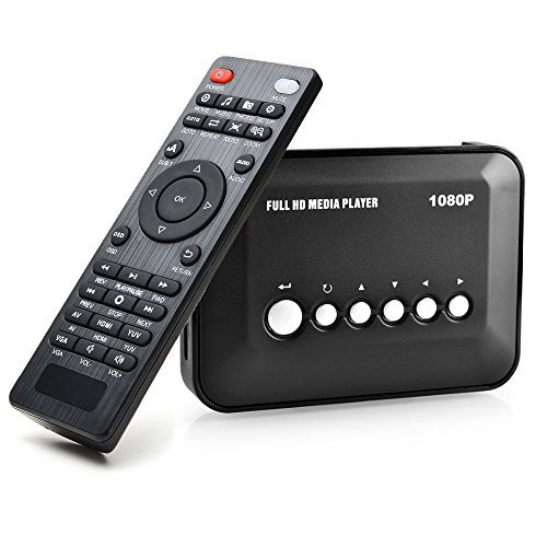 AGPTEK 1080P Full HD Digital Multi TV Mediaplayer Medienspieler Medienspieler mit Fernbedienung für 1080P HD USB SD MMC RMVB MP3 Avi MPEG Divx MKV