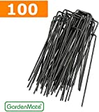 GardenMate® 100x 6''/150mm U-shaped Garden Securing Pegs - Ideal for securing weed fabric, landscape fabric, netting, ground sheets and fleece