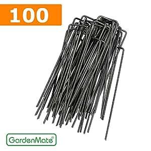 gardenmate 100 piquets de fixation pour b che toile paillage et anti mauvaises herbes 15cm en. Black Bedroom Furniture Sets. Home Design Ideas