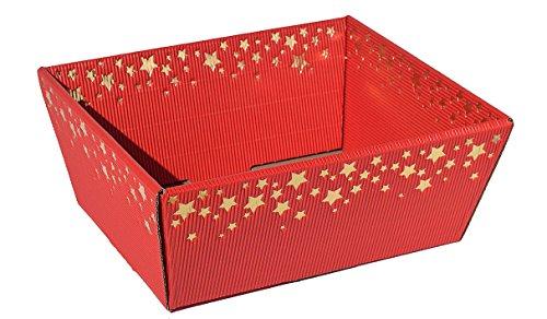 10 cestini regalo in cartone ondulato, motivo pioggia di stelle, cartone, rosso/oro, piccolo