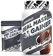 Bigmuscles Nutrition Real Mass Gainer [1Kg, Chocolate] with Free Real Crea 34 Servings | Lean Whey Protein Mus