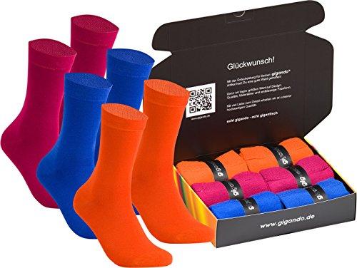 gigando   bunte Bambussocken für Damen & Herren   Socken aus Bambus mit Komfortrand   atmungsaktiv dank Sorbtek und Viskose Bambus   Ferse und Spitze verstärkt   6 Paar   rot, blau, orange   39-42  