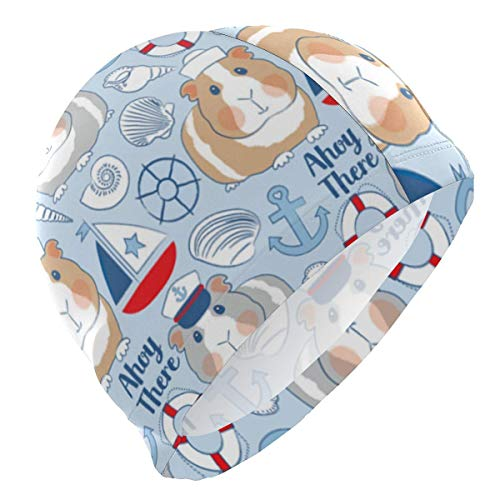 Gebrb Badekappe/Schwimmkappe/Bademütze, Sailor Guinea Pigs Blue Lycra Swim Cap Swimming for Women Men Lycra Swim Cap