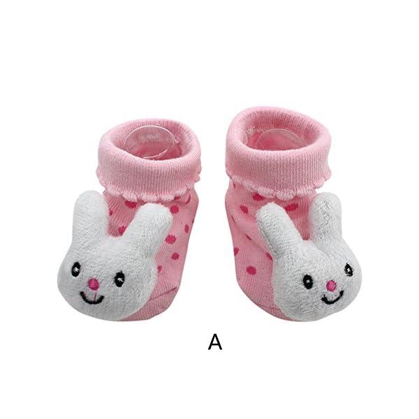 MAYOGO Bebé Calcetines Niña Corto Antideslizante Soles Acogedor Dibujos Animados 3D Recién Nacido Niño Bebé Calcetines… 2