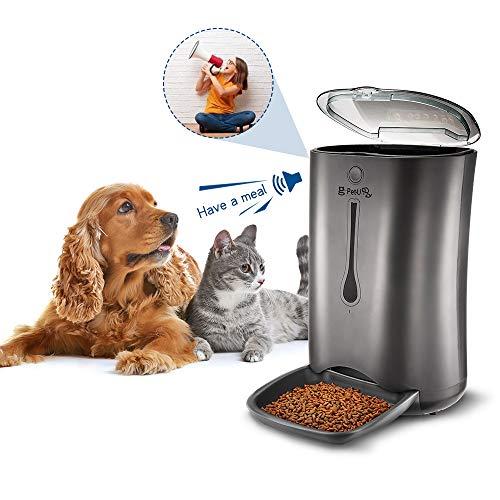 PUPPY KITTY Pet-U 6.5L Distributeur de Croquettes pour Chats et Chiens Distributeur Automatique de Nourriture Enregistrement Vocal Programmable 4 Repas par Jour Noir
