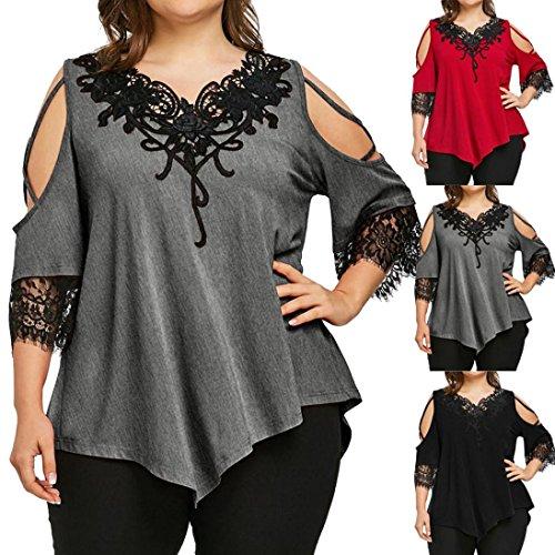 Women's Plus Size Tops, OverDose V-Neck Lace Cold Shoulder T-Shirt Short Sleeve Casual Top Blouse