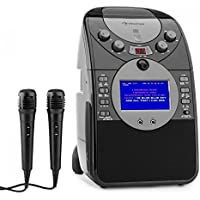 """auna ScreenStar • karaoke • karaoke para niños • pantalla TFT de 3.5 """" • 2 x micrófonos dinámicos • cámara frontal • altavoz integrado • salida de video • Reproductor de CD+G • USB • MP3 • negro"""
