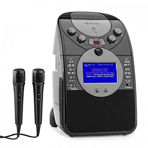 auna ScreenStar • karaoke • karaoke para niños • pantalla TFT de 3.5 ' • 2 x micrófonos dinámicos • cámara frontal • altavoz integrado • salida de video • Reproductor de CD+G • USB • MP3 • negro